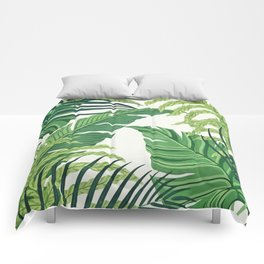 Green tropical leaves II Comforters