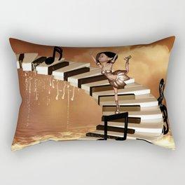 Cute little girl dancing on a piano Rectangular Pillow