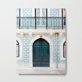 The green door | Lisbon Portugal architecture | Fine art travel photography print Metal Print