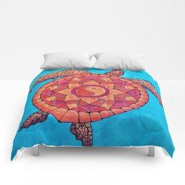Sunset Seaturtle Yin Yang mandala Comforters