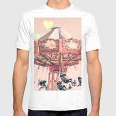 wing Carousel and heart bokeh on pale pink Mens Fitted Tee White MEDIUM