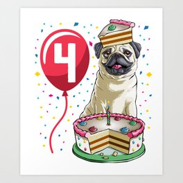 Pug Birthday Cake Balloon 4 Art Print