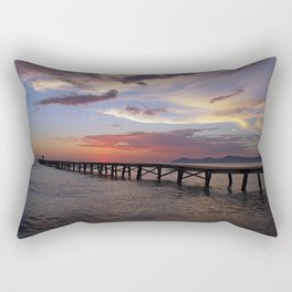 Anglers in the sunrise at the sea Rectangular Pillow