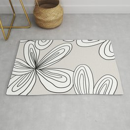 Abstract cream line flowers Rug