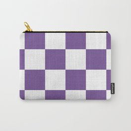 Large Checkered - White and Dark Lavender Violet Carry-All Pouch