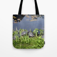 Turtles by a water pond and water plants in a garden.  Nature  photography. Tote Bag