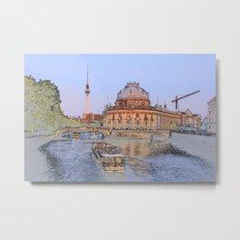 Berlin Spree Bode Museum and Alexander tower Metal Print