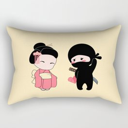 Tiny Ninja and Geisha Rectangular Pillow