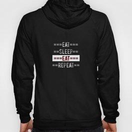 Foodie Gift - Eat Sleep Eat Repeat  - Distressed Text Design Hoody