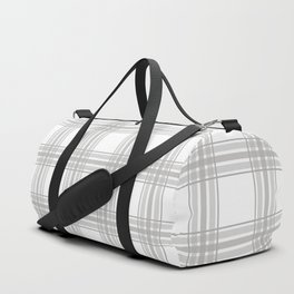 Farmhouse Plaid in Gray and White Duffle Bag