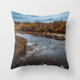 Shallow River Landscape Photograph Throw Pillow
