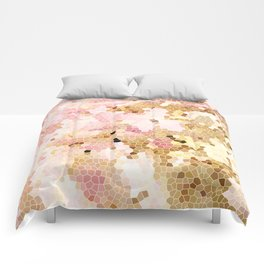 Flower Mosaic Millennial Pink and Golden Yellow Abstract Art | Honey Comb | Geometric Comforters