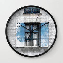 Architect Drawing of Blue Wooden Windows Wall Clock
