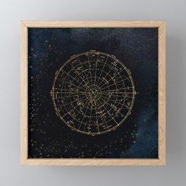 Golden Star Map Framed Mini Art Print