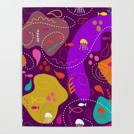 Mid Century Modern With Sea Life Poster
