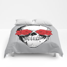 Skull and Roses | Grey and Red Comforters