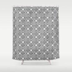 Black and White Broken Diamond Swirl Pattern Shower Curtain