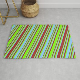Light Sky Blue, Brown, and Green Colored Striped/Lined Pattern Rug