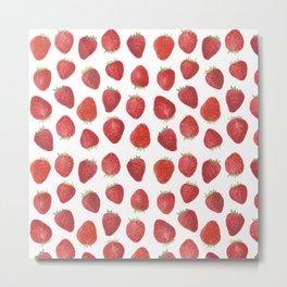 Strawberries watercolor Metal Print