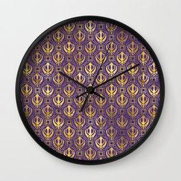 Golden Khanda pattern on violet Wall Clock