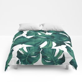 Monstera Leaves Pattern #3 #tropical #decor #art #society6 Comforters