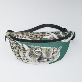 Snow leopard in green Fanny Pack