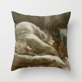Morning Visitor Oil Painting Interior Sleeping Woman with Cat Throw Pillow