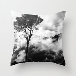Black & White tree in the clouds Throw Pillow