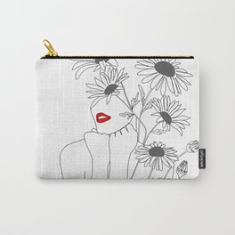 Minimal Line Art Girl with Sunflowers Carry-All Pouch