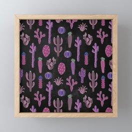 Cactus Pattern On Chalkboard Framed Mini Art Print