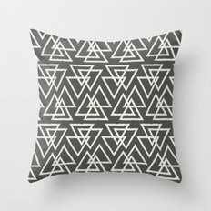 Trilogy Triangles-Dark Gray & Cream Throw Pillow
