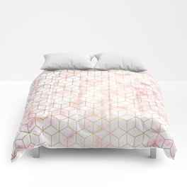 Geometric Gold Pattern on Pink Marble Comforters