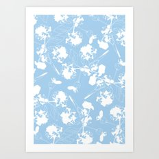 Hydranga pattern  - blue and white Art Print