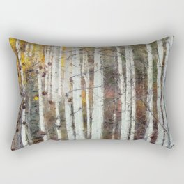 Northern Birch Forest Painting Rectangular Pillow