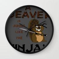 beaver Wall Clocks featuring Beaver by Derek Donovan