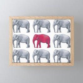 Elephants Red Framed Mini Art Print