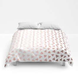 Rose Gold Triangle Checkers Comforters