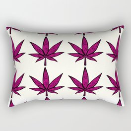 Filigree Floral Cannabis Leaf- 4x4 tile Pink Rectangular Pillow