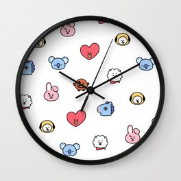 BT21 Sketched Pattern Wall Clock
