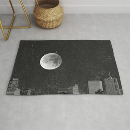 Blood Moon Over Denver Colorado in Black and White Rug