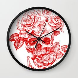 Roses and Human Skull - Red Wall Clock