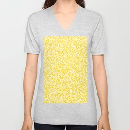 Tiny Spots - White and Gold Yellow Unisex V-Neck