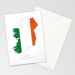 Ireland Coordinates Country Flag Silhouette Stationery Cards