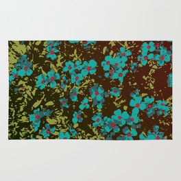 turquoise floral Rug