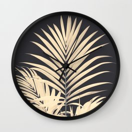Inverted Vision | White sepia palm tree leaf photography on grey black Wall Clock