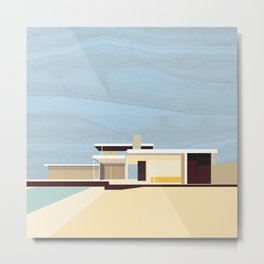 Mid Century Modern Kaufman House: Palm Springs: Architecture by Richard Neutra: Blue Yellow Brown Metal Print