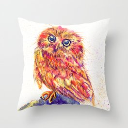 Caffeinated Owl Throw Pillow