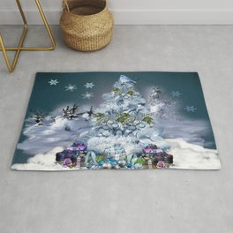 Snowy Blue Christmas Scene Rug