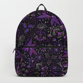 Purple Night Glow Flower Meadow , Rich Fuchsia Pink and Lilac Blooms Glowing in the Dark Black Night Backpack