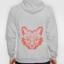 Muzzle foxes. Fox with sideburns, sketch strokes. Hoody